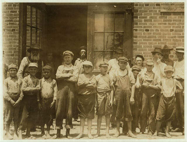 Some of the youngsters working in Belton Mfg. Co., Belton S.C. Two of the youngest and J. Henderson, Kelly Street. Percy Morrison, Eugene Simper.  Location: Belton, South Carolina.