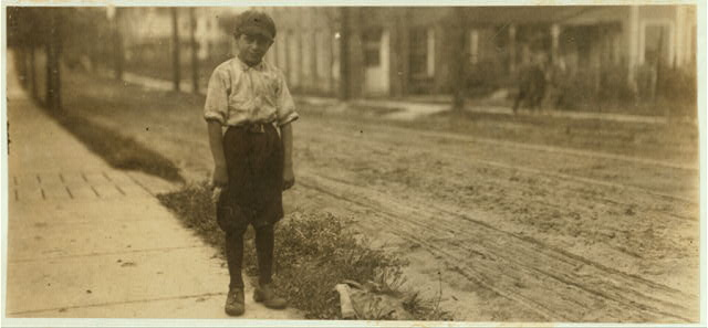 "Luther Purdue, 114 Sheldon St. Said 9 years old. Been working 6 months in High Point Hosiery Mill, N.C. Works all day, making about $3.00 a week. Said he expects to go to school later. ""We live outside the Corporation and school begins late"" (a chance for children to evade school attendance and work).  Location: High Point, North Carolina."