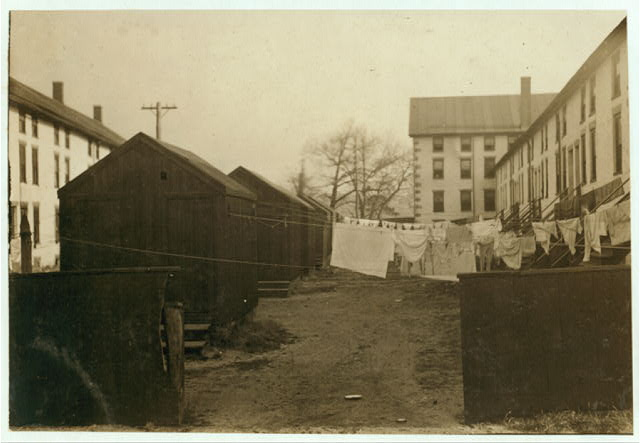 (For Child Welfare Exhibit 1912-13.) Privies and back-yards, Lonsdale, R.I.  Location: Lonsdale, Rhode Island.