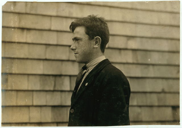 James Cooney - Irish - 15 years. 26 Peck St., King Philip. Drop Wire boy. Belongs to Settlement House junior base-ball league.  Location: Fall River, Massachusetts