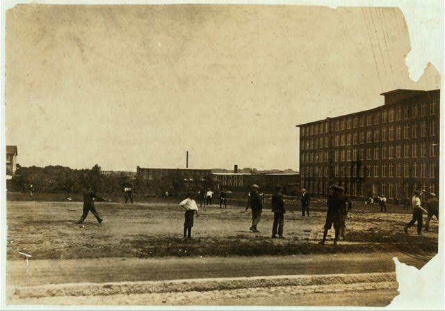 [Kerr Thread. Young workers on Ball Ground at noon. Two leagues - Junior and Senior.]  Location: [Fall River, Massachusetts]