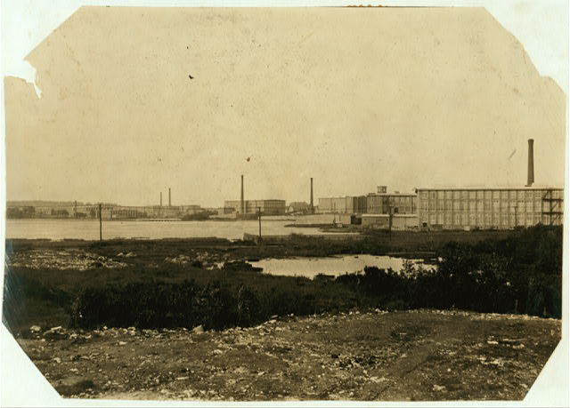General View of Mills. Davis - Arkwright - Wampanog - Pilgrim.  Location: Fall River, Massachusetts