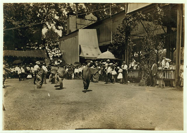 Sack Race, the Newsboys' Picnic. Location: Cincinnati, Ohio.