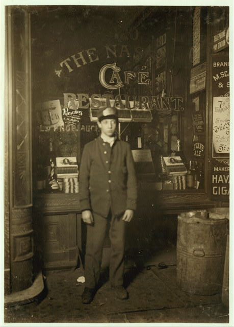 Postal Telegraph Boy. David Caplan, 9 Monroe Street. Said he was 15 years old. Works from 11 P.M. to 8 A. M., often down around the docks.  Location: New York, New York (State)