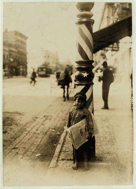 "A Little ""Shaver,"" Indianapolis Newsboy, 41 inches high. Said he was 6 years old. Aug., 1908. Wit., E. N. Clopper.  Location: Indianapolis, Indiana."