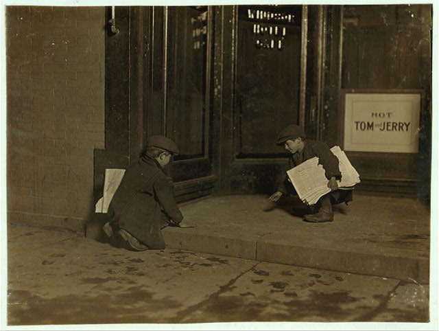 9:00 P.M. Bridgeport, Conn. These boys 8 and 10 years old, had been pitching pennies all evening. After 9 P.M. I saw the little one going into saloons with a big bunch of papers and a pitiful tale. The big brother of the boy told me the little one makes 50 cents some days between 3 and 9 or [...] Been selling 2 years.  Location: Bridgeport, Connecticut.