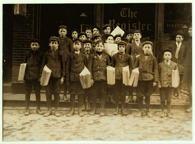 Some of the smaller newsboys, 9, 16 and 11 years old.  Location: New Haven, Connecticut.