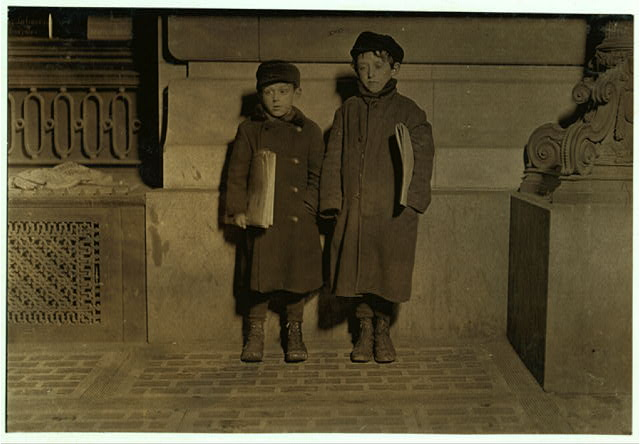 8 P.M. Friday, March 5, 1909. Charlie Gilstein, 9 years old. Philip Gilstein, 12 years old. Hartford, Conn.  Location: Hartford, Connecticut.