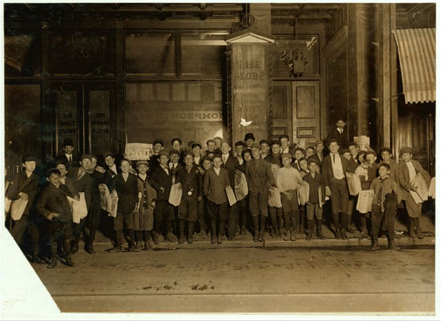 A scene at Newspaper Row, Sunday, 5 A.M. Boston 1915 Exhibit. Oct. 1909. L.W.H.  Location: Boston, Massachusetts.