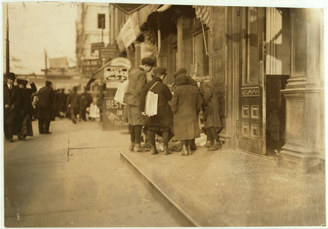 Some of Newark's small newsboys. Afternoon.  Location: Newark, New Jersey.