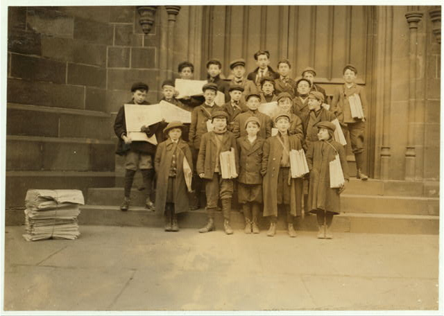 Some of Newark's small newsboys. Afternoons.  Location: Newark, New Jersey.