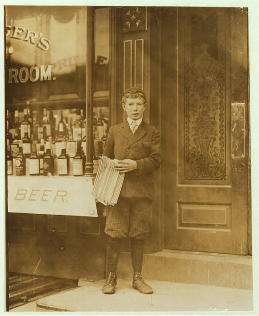 John Gibson, Newsboy, 13 years of age. Selling newspapers 7 years. Average earnings $1.25 per week. Selling newspapers own choice. Smokes. Visits saloons. Works 9 hours per day. John's brother is a messenger who directed investigator to a number of houses of prostitution, on Tatnall and Orange Sts. Investigator, Edward F. Brown.  Location: Wilmington, Delaware