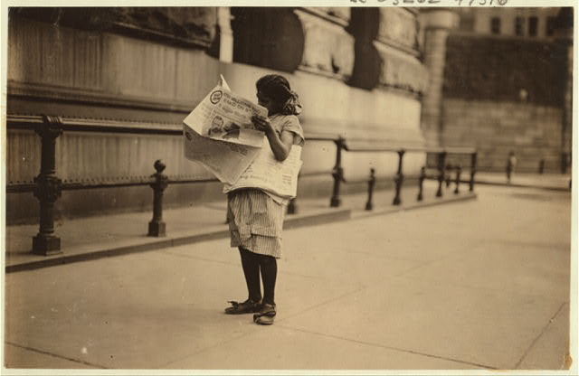 Newsgirl, Park Row.  Location: New York, New York (State)