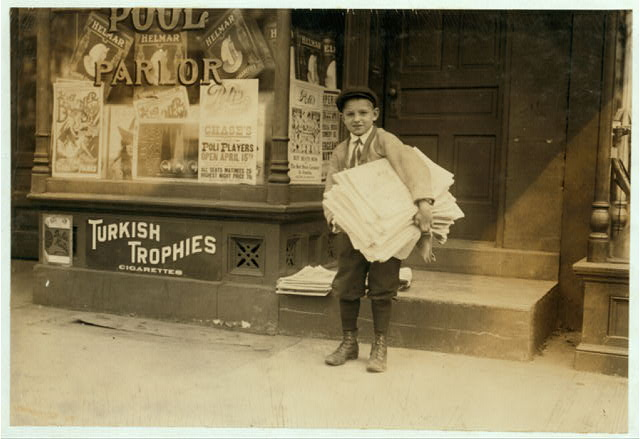 Hyman Lapcoff, 1526 Fourteenth St., N.W., Washington, D.C., a ten year old newsie from a good family, carrying a heavy load of newspapers quite a distance. This is a common occurrence and is bad for the little fellows.  Location: [Washington (D.C.), District of Columbia]