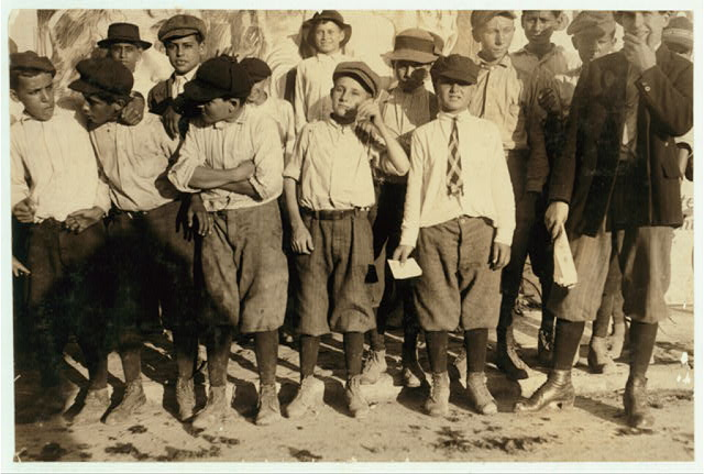 A few of the San Antonio messengers. See Hine report on messenger service of Texas. Edgar Barnes is one of the smallest in front row. The messengers and their contact with the Red Light districts, in most of the large cities of Texas, is one of the worst phases of child labor in the state.  Location: San Antonio, Texas.