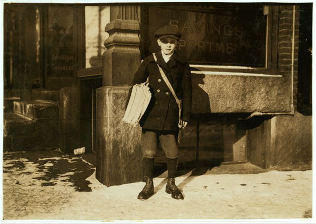 Alfred Hicks, a 10-year-old newsie, selling Boston papers at noon.  Location: Barre, Vermont