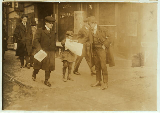 Newsie under age. Selling near Market at 5 p.m.  Location: Boston, Massachusetts