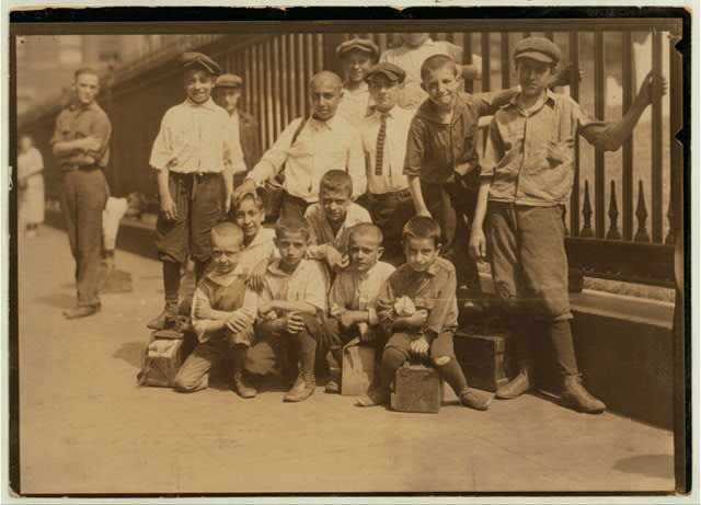 Some of the young bootblacks working around Trinity Church, New York City, July 25, 1924.  Location: New York, New York (State)