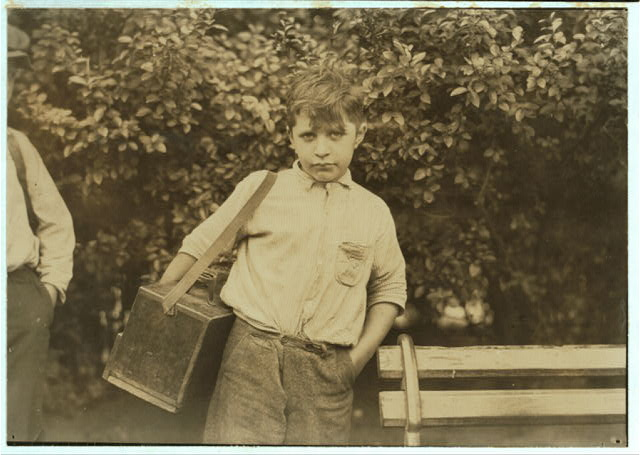 Tony, nine year old bootblack, Newark, N.J. says he makes $1 a day. August 1st, 1924.  Location: Newark, New Jersey.