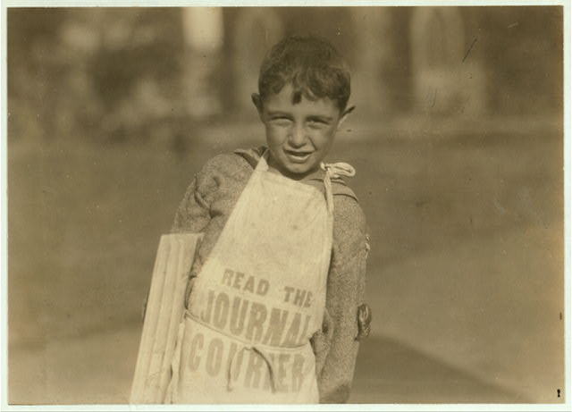 Another young newsboy in Hartford, Conn. August 26, 1924.  Location: Hartford, Connecticut.