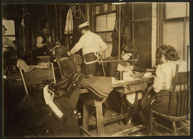 A group of sweatshop workers. Mr. Silberman, 30 Suffolk St. Photo taken after 3 P.M. February 21st, 1908, Witness Mrs. Lillian Hosford.  Location: New York, New York (State)