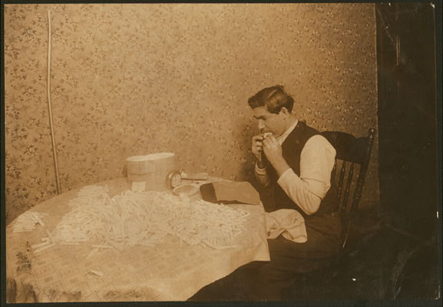 A common occurrence, licking the paper when making cigarette cases. (For complete details see Miss E.C. Watson's report.)  Location: New York, New York (State)