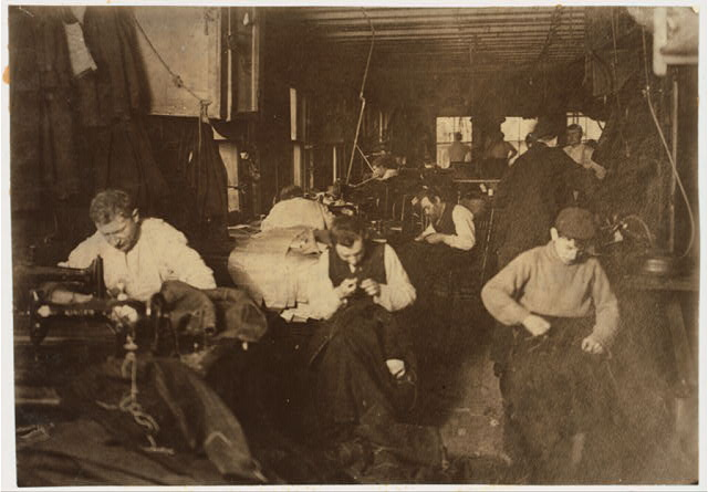 Group of sweatshop workers in shop of M. Silverman. 30 Suffolk St., N. Y. Feb. 21, 1908.  Location: New York, New York (State)