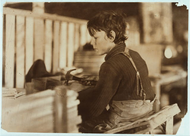 Boy making Melon Baskets, A Basket Factory, Evansville, Ind.  Location: Evansville, Indiana.