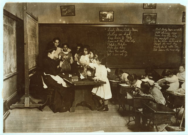 """Steamer Glass"" in Hancock School, Boston. Immigrant children.  Location: Boston, Massachusetts."