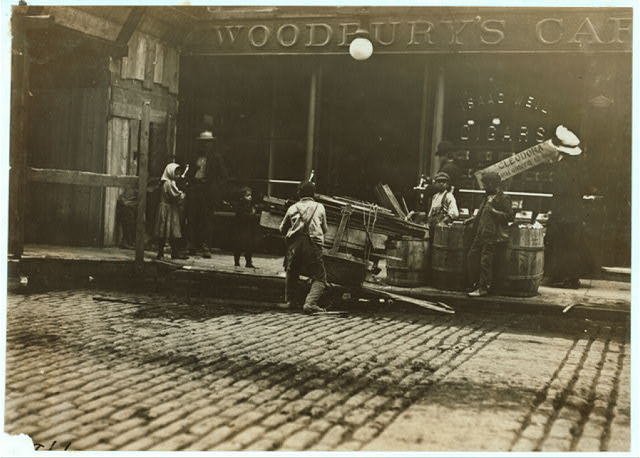 Boy Woodpickers Loading.  Location: Boston, Massachusetts.