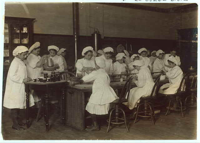 Bread Making as Mother Makes it. Boston 1915 Exhibit.  Location: Boston, Massachusetts.