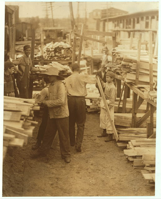 Young boys working for Hickok Lumber Co., Burlington, Vt.  Location: Burlington, Vermont.