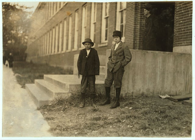 Two boys working in Friedman Shelby Shoe Company 6:30 A.M. (See photo #1718 for names of boys).  Location: Mexico, Missouri.
