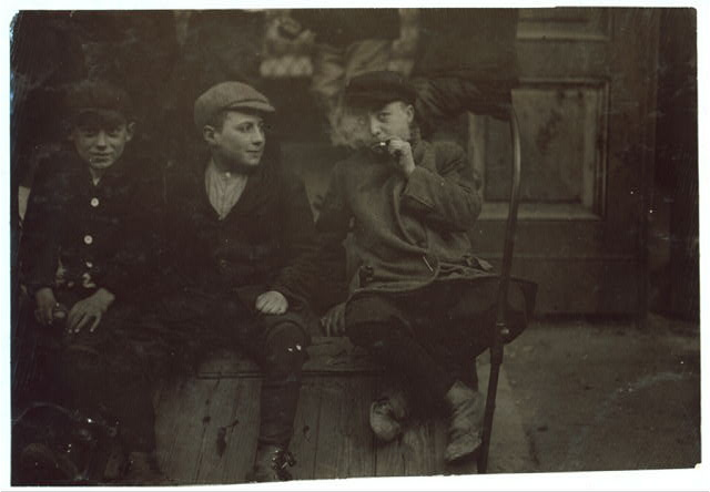 (For Child Welfare Exhibit 1912-13.) Cigarettes, Spruce St., Italian Boys, Providence, R.I. Nov 23, 1912.  Location: Providence, Rhode Island.