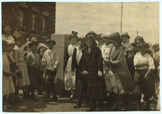 [Going to School. About 14-16 years. Watson School - Flint Village.]  Location: Fall River, Massachusetts.