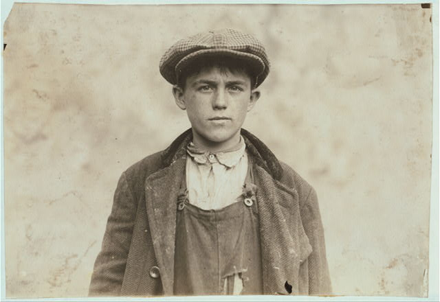 James Donovan - Irish Sweeper in Fall River Iron Works. Said he was 17 years.  Location: Fall River, Massachusetts