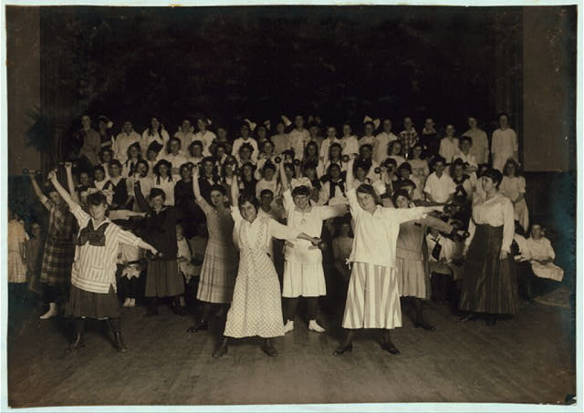 Woman's Union. Happy Girls Club. Working girls in foreground. School girls behind.  Location: Fall River, Massachusetts