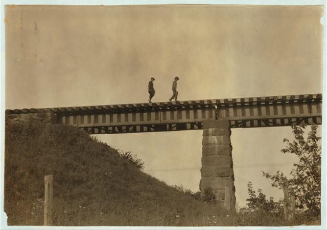 Crossing the trestle - 4 P.M.  Location: Westfield, Massachusetts