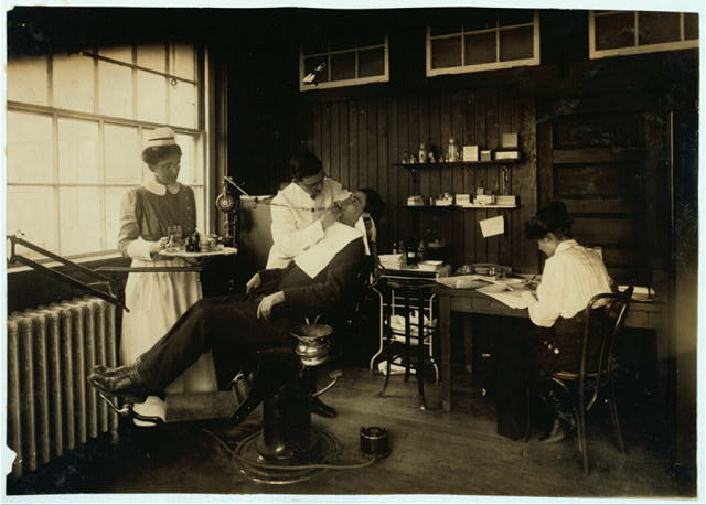 Dental work in Hospital. Hood Rubber Co., Cambridge.  Location: Cambridge, Massachusetts