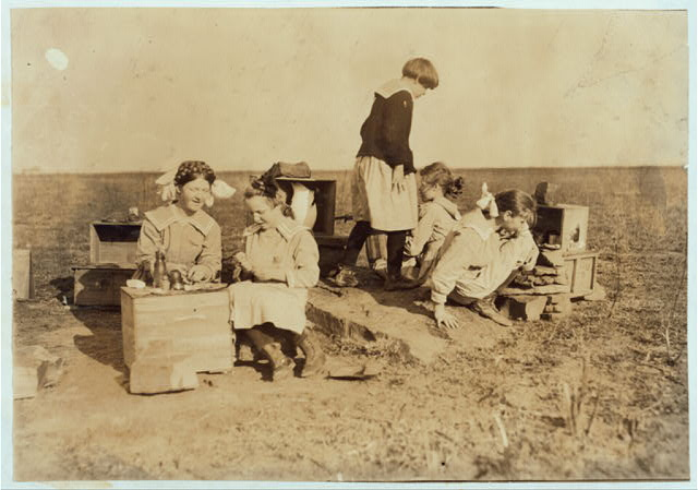 Some original play houses conceived and executed by girls at the Oklahoma School for the Blind. See Ellis report. Photos were not posed.  Location: Muskogee, Oklahoma