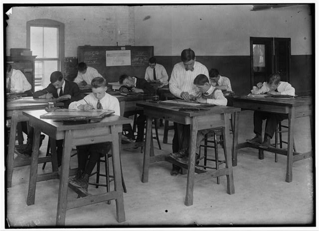 Continuation School - Temporary Quarters. Drawing class at Dimond School.  Location: Fall River, Massachusetts