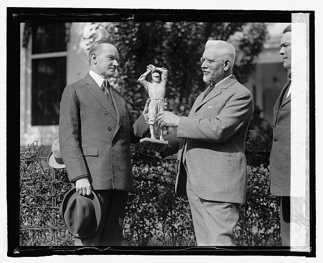 U.S.J. Dunbar presents Pres. Coolidge with statue of Walter Johnson, 10/22/24