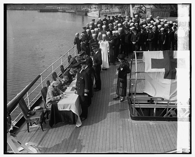 Society girls enrolling crew of Mayflower for Red Cross, 11/5/24