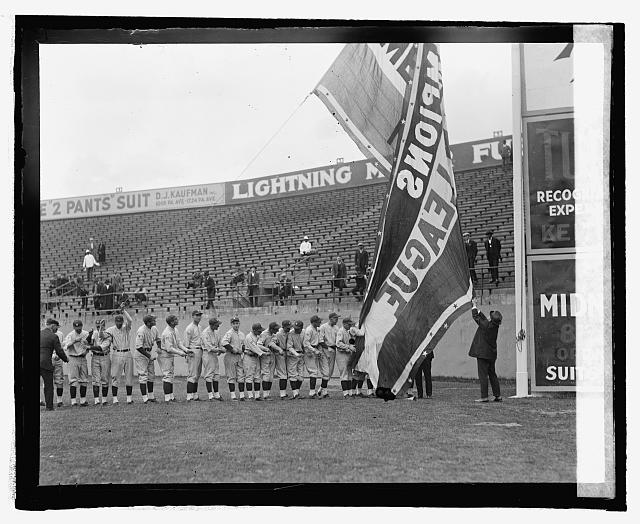 Griffith raising American League Pennant, 5/1/25