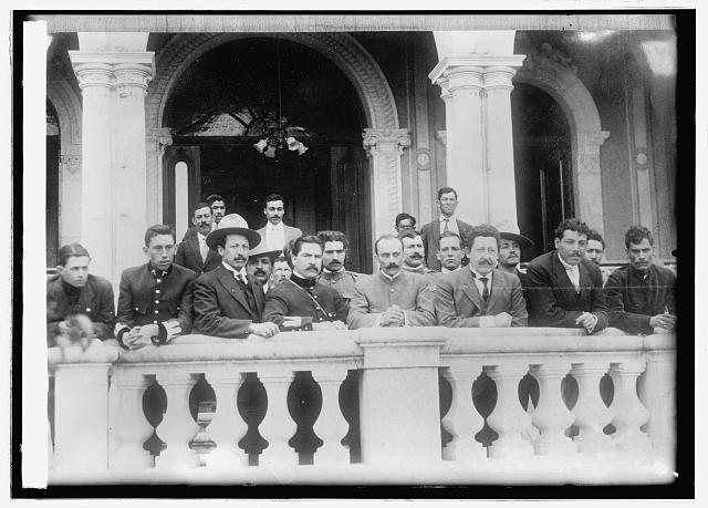 Mexico, Gov. Manuel Chao & his aides on veranda & Terrazas house