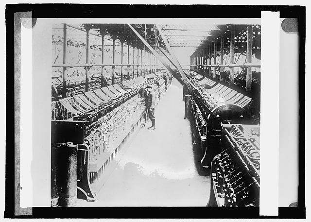 Flax industry, warping room in a linen mill, Ireland