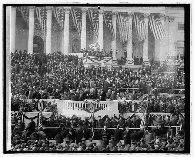 Woodrow Wilson swearing in, [Washington, D.C.], Mch. 4 [i.e., March 5], 1917