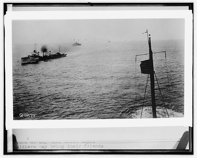 American destroyer convoying troops entering harbor of Breast, [France]