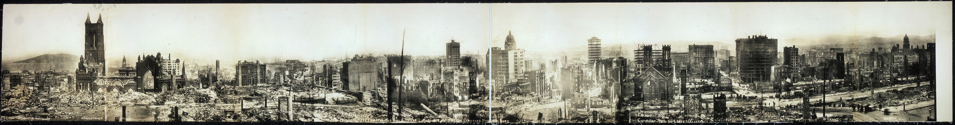 Ruins of San Francisco after earthquake and fire, April 18 - 21, 1906, view from Stanford Mansion site