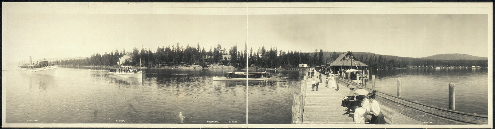 Panorama of Lake Tahoe from the tavern wharf